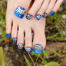 24pcs Blue Glitter Rhinestone False Toe Nails with Golden Pearls