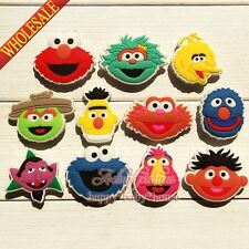 Cute 100PCS Sesame Street PVC shoe ornaments,shoe charms for Bracelets Croc Gift