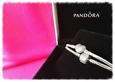 Brand New Pandora Pave Heart and Pave Barrel Bracelet