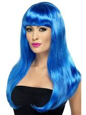 Womens Girls Blue Babelicious Wig Long Straight Fringe Katy Perry Colour Hair