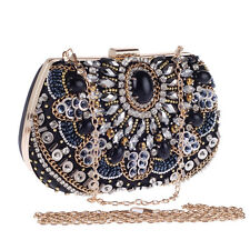 Vintage Party Bridal Crystal Rhinestone Black Evening Bag Clutch Handbags Purse