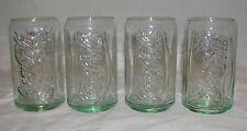 4 Coca Cola Glasses Retro Can Shape Coke Tumblers Green Tinted Glass NEW 12 oz