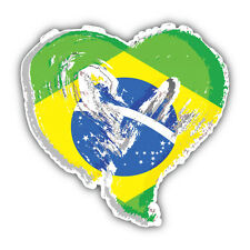 Brazil Grunge Heart Flag Car Bumper Sticker Decal 5'' x 5''