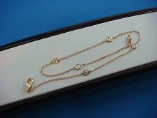 """0.35 CT ANKLET IN 14K ROSE GOLD """"DIAMONDS BY THE YARD"""" 5 STATIONS, 10 INCH LONG"""