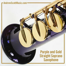 Straight Soprano Saxophone in Case - Purple with Gold Colored Keys - Masterpiece