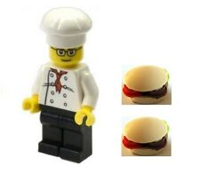 LEGO Chef Baker Minifig with 2 Burger Buns Food Town City NEW