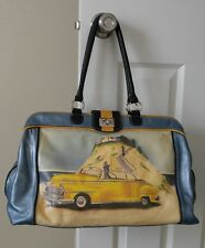 ISABELLA FIORE Vintage Handbag Duffle Purse. Beach Goodbye. Doctors Bag Tote