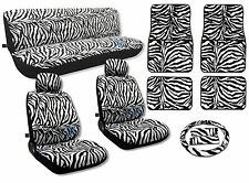 Zebra Seat Covers 15pc Floor Mats Auto Interior Set Animal Print CS