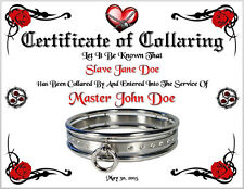 BDSM Certificate of Collaring Marriage Slave Bondage 50 Shades of Grey Wedding