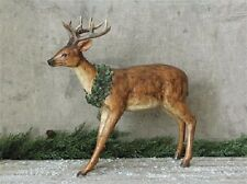 DEER STATUE*w/ Christmas Wreath*French Country/Primitive/Cabin Home Decor