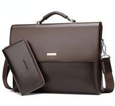 Business Men Leather Briefcase Bag Handbag Laptop Shoulder Brown Bag with Wallet