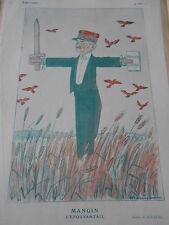 1925 Original Print Mangin l'épouvantail par Barrère Usages de la politesse