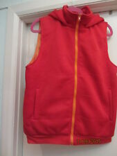 ladies red gillet christmas cool old skool hip hop retro look orange /hood small