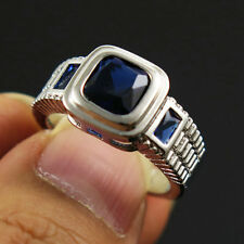 Size 6 Blue Sapphire Crystal Ring Women's 10KT White Gold Filled Wedding Band