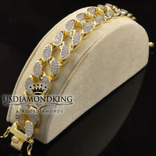 17mm Mens BIG BOLD 14k Yellow Gold Finish Miami Cuban Link Lab Diamond Bracelet