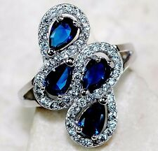 4CT Blue Sapphire & White Topaz 925 Solid Sterling Silver Ring Sz 6, T3-6