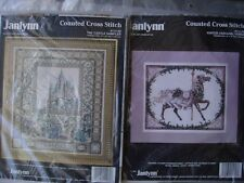 2 NEW COUNTED CROSS STITCH JANLYNN CASTLE, HORSE, PLUS 1 NEW BRAID CRAFT BOTSFOR
