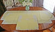 10 Pc. Vintage Madeira Yellow Tulip Applique Linen Runners Placemat Set