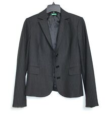 Benetton - 42 US 6 (S) - Black & White Pin Striped Three-Button Blazer Jacket