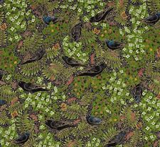 Robert Kaufman Fabric Alaska Midnight Sun Raven Bird Berry Fern Crow Cotton