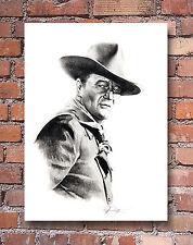 """John Wayne Pencil Drawing 2 """"The Duke"""" Art Print Signed by Artist DJR"""