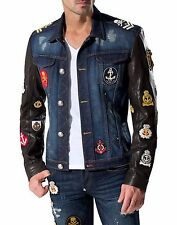 PHILIPP PLEIN LEDERJACKE XL leather jacket l pp denim jacke blue patches wow