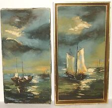 R.MARCE PAIR OF SAIL BOATS AT SEA ORIGINAL OIL ON CANVAS SEASCAPE PAINTINGS