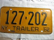 VINTAGE  1962 NY NEW YORK STATE TRALER PLATE   #127 202  PLATE (1)