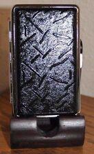 2 X  Leather Metal Cigarette Case 100's /Black&Line Design /B.card &money holder