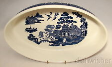 "Johnson Brothers BLUE WILLOW Oval Baker 12"" Made in Portugal RARE HTF"