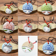 Nation China Porcelain Jewelry Ceramic Flower Beauty Doll Face Pendant Necklace