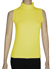 Women Cotton Spandex Sleeveless Turtleneck Top 1