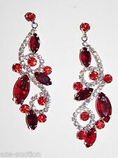 SILVER W.RED RUBY MARQUISE AND ROUND RHINESTONE CRYSTAL DROP EARRINGS