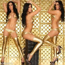 3 Pc Shiny Gold Lycra Bikini Set Babydoll Sexy Costume Lingerie Bra Honeymoon