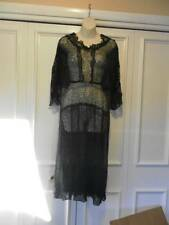 Vintage/Antique 1920'S Black Lace Dress W/ Gold Lame' Lace