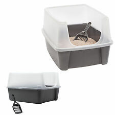 Open Top Litter Box With Shield Scoop Kitty Container Cat Pan Pet Toilet NEW