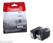 2 x Canon Original OEM PGI-5Bk, PGI5Bk Inkjet Cartridges For MP800R, MP830