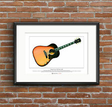 George Harrison's 1962 Gibson J-160E Limited Edition Fine Art Print A3 size