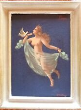 VTG RENAISSANCE ANGELIC ANGEL OLD OIL PAINTING POMPEI ARTIST GIORDANO SIGNED #2