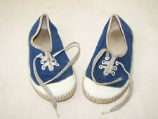 DDR Kinderturnschuhe 15,5 blau weiss original Fabrikation Made in GDR Gummisohle