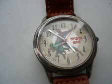"New Fossil ""SPIDERMAN""men's brown leather,quartz,battery & Analog watch.Li-1037"