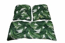 Swaying Palms In / Outdoor Cushions for Wicker Loveseat & Chairs ~ 3 PC Set