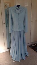 Tom Bowker Size10, Aqua/Blue Wedding outfit 3 piece Jacket, Skirt & Scarf