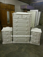 HANDMADE  DIANA SOLID PINE 3 PIECE BEDROOM SET WHITE (ASSEMBLED)