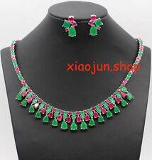 Natural Emerald & Ruby Stone Studded Party Wear Necklace & Earring Set