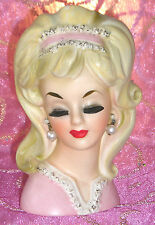 "LOVELY & VERY RARE ""ENESCO"" TEEN HEAD VASE~PRETTY IN PINK DEMURE LADY HEADVASE"