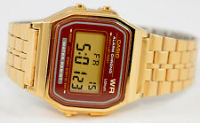 Casio A-159WGEA-5 Digital Gold Watch Stainless Steel Red Gold Face Classic New