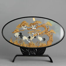 Beautiful! 20th c Chinese Boxed Cork Carved Statue  of Storks in a Landscape