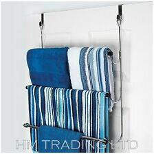 Chrome Plated Over The Door 3 Towel Rail Holder Hanging Stand Rack Bath Clothes