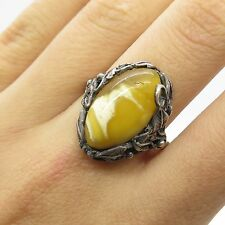 Vtg Europe 925 Sterling Silver Real White Amber Gemstone Ring Size 7.5